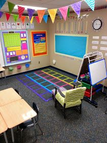 LOVE this colorful classroom set-up!