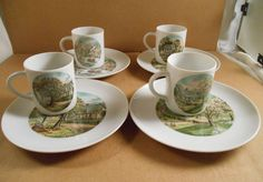 Currier & Ives FOUR SEASONS 8 pc Luncheon Set Fine China Cup Plate