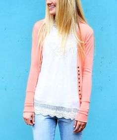 Love this Blush Snap Cardigan by So Perla on #zulily! #zulilyfinds