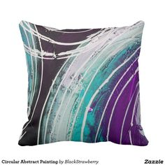 Circular Abstract Painting Throw Pillow