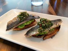 Local Sardines on garlic toast w/crushed avocado and pickled ramp salsa