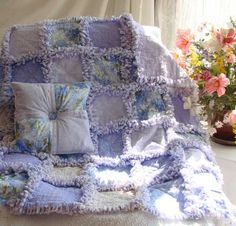 Custom Baby Quilt Lilacs http://www.quiltsjust4kids.com/baby-quilts-rag-quilt/