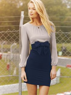 "Skirt: pencil skirt with bow on waistband, attache to long sleeve skirt or make skirt and have attachable ""belt"" with bow"