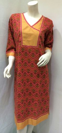 Cotton block printed kurtis at www.rajdesignstudio.com
