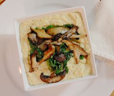 Polenta with Aged Gouda, Chard & Wild Mushrooms #SundaySupper