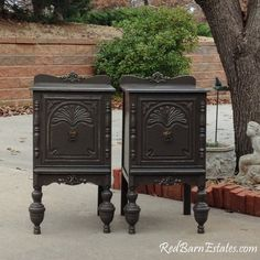 Painted Antique Nightstands - You Order. We Find, Restore, Adorn and Paint. Refinished Nightstand, Nightstands, Shabby Chic Farmhouse, Shabby Chic Style, Shabby Chic Furniture, Antique Furniture, Painted Night Stands, Bedside Table Design, Wooden Wheel