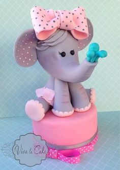 The cutest elephant cake for a girl baby shower or 1st birthday