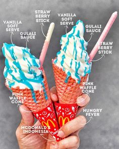 "Must get it all, the another third of new menu of ""GULALI CONE"" Now in catchy Pink Cone and Gulali (Indonesia… Laura Lee, Aesthetic Food, Aesthetic Girl, Waffle Cones, New Menu, Soft Serve, Mcdonalds, Berry, Sweet Tooth"