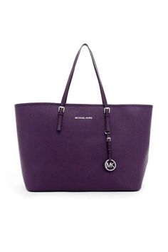 MICHAEL KORS ::  Jet Set Travel  Tote In Purple Saffiano -