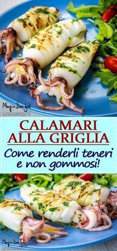 How to cook tender and non-gummy grilled squid.- Come cucinare calamari alla griglia teneri e non gommosi. How to cook tender and non-gummy grilled squid. Chicken Tenderloin Recipes, Steak Recipes, Fish Recipes, Seafood Recipes, Chicken Recipes, Cooking Recipes, Healthy Recipes, Cooking Kale, Grilled Recipes