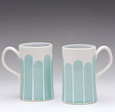 Turquoise Tall Striped Mug by dahlhaus on Etsy
