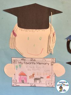 End of the Year Bulletin Boards & Craftivities with Writing Prompts - Lessons for Little Ones by Tina O'Block Graduation Crafts, Pre K Graduation, Graduation Theme, Kindergarten Graduation, Graduation Quotes, Graduation Ideas For Preschool, Kindergarten Bulletin Boards, Kindergarten Crafts, Kindergarten Writing