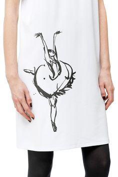 Oversized Dress | White Dress | Unique Dress | Original Dress With Print | Stylish Casual dress | Free Delivery | Ballerina Drawing | NODRAMA
