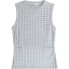 T by Alexander Wang Laser-Cut Tank Top ($74) ❤ liked on Polyvore featuring tops, shirts, tanks, grey, see through tank tops, grey crop top, grey tank top, crew neck shirt and crop shirt