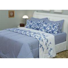 8f804983d3 Enxoval Cama Casal Blue Garden 7 Peças Percal 233 Fios - Casa   Conforto  Enxoval De