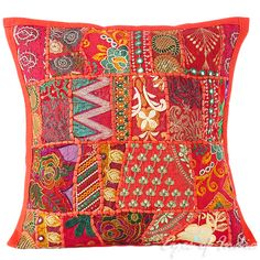"""Red Patchwork Decorative Throw Pillow Cushion Cover - 16 X 16"""""""