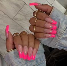Cosmopolitan UK's edit of the best pink nails, from acrylics to gels, baby to neon, long to short. From baby, to neon. Frensh Nails, Pink Tip Nails, Pink Acrylic Nails, Neon Nails, Swag Nails, Nail Polishes, Pink Acrylics, Cute Pink Nails, Glitter Nails