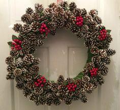 Frosted Pinecone w/ Cherries Winter Wreath, Holiday Christmas Wreath, Acorn Wreath, Christmas Front Door Wreath