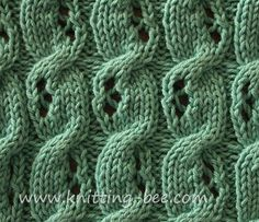 Eyelet Cable Knitting Stitch. Pretty alternating eyelet cable pattern.