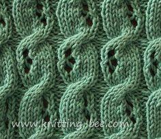 Eyelet Cable Knitting Stitch. Pretty alternating eyelet cable pattern.