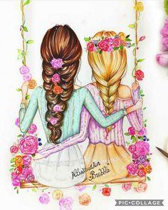 Jd_tech_art drawings for best friends, drawings of girls, bff drawings, . Best Friend Drawings, Girly Drawings, Art Drawings Sketches, Cool Drawings, Drawing Faces, Art Illustrations, Drawing Of Best Friends, Illustration Girl, Arte Tech