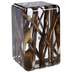 Preowned Side Table In Acrylic Glass And Burntwood Kisimi Ice ($5,466) ❤ liked on Polyvore featuring home, furniture, tables, accent tables, black, side tables, acrylic furniture, glass furniture, glass end tables and glass table