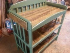 A repurposed custom order.. old baby changing table turned into a potting bench.. #tobaccosticks  #palletwood #pottingbench