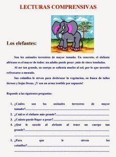 LECTURAS COMPRENSIVAS SOBRE ANIMALES