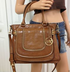 MICHAEL KORS Large Naomi Satchel Brown Walnut Shoulder Leather Crossbody Purse