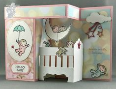 handmade baby card from Colour INKspiration Challenge #05 ... from addinktive designs  ... double Z fold with crib and mobile and delightful decorations ... Stampin' Up!
