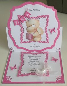 Birthday card First Birthday Cards, Birthday Cards For Women, Baby Scrapbook, Scrapbook Cards, Scrapbooking, Teddy Bear Birthday, Bear Card, Baby Girl Cards, Shaped Cards