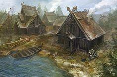 Viking Birka: Important Viking Trading Center Collapsed - History of Vikings Viking House, Viking Life, Viking Art, Fantasy City, Fantasy Places, Fantasy World, Les Runes, Viking Village, Nordic Vikings
