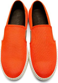 Lanvin: Coral Red Textile Slip-On Shoes