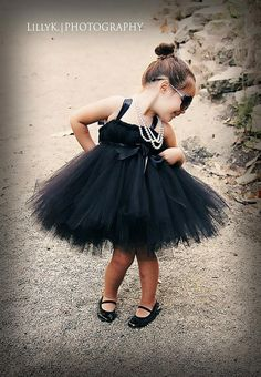 The Glamorous Audrey Hepburn Tutu Dress - Little Girl's Costume for Halloween Black Tutu, Glamour, Halloween Disfraces, Bridesmaid Dresses, Wedding Dresses, Baby Girl Fashion, Audrey Hepburn, Baby Dress, Baby Skirt
