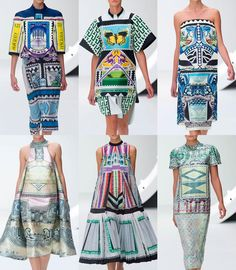 Mary Katrantzou S/S 2013-Vintage European Postage stamps references – Bold Graphic prints – Bird & Butterfly visuals  - Currency Pattern & Motif use – Decorative linear structures