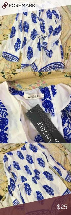 Anself blue and white romper NWT Blue and white romper, size S Dresses Long Sleeve