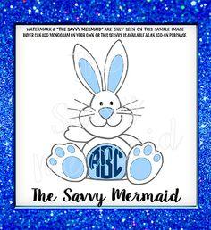 Boy Easter SVG file  Easter Bunny Monogram SVG  by TheSavvyMermaid
