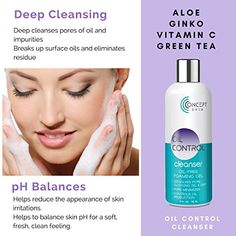 OIL CONTROL Natural Skin Care Set- Oily Skin & Acne Kit - pH Balancing Face Wash, Witch Hazel Toner & Oil Free Face Moisturizer for Oily skin & Blemish Treatment - 30 Day Skin Care Kit