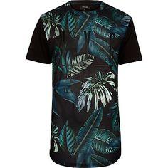 Black mesh leaf print t-shirt - £20 #RImenswear