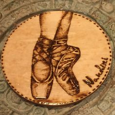 Beautiful Ballet Shoes coaster carefully drawn with a pyrography pen!