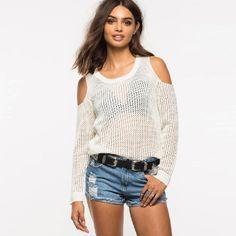 HDY Haoduoyi White Sheer Fashion Sweatshirt Colder Shoulder Long Sleeve Casual Tops Brief Style Female Pullover Sweatshirt
