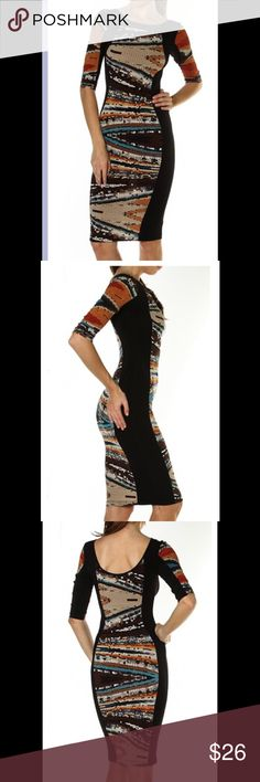 ⭐️LAST ONE⭐️Mosaic Stretch Dress Very elegant. Beautiful fit. Quite modest and yet sexy. Sleeves come to elbows. Skirt comes to knees. High neck line in front with a subtle drop in back. Dresses Midi
