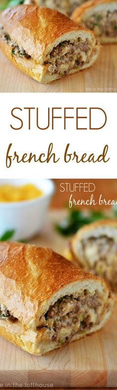 It was a little difficult to take a good picture of this Stuffed French Bread, but I HAD to share the recipe. It was so delicious! A cheesy and flavorful ground beef mixture stuffed inside French Bread. Holy moly, so good! It's even better if you use homemade French bread.
