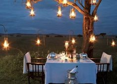 Hanging lanterns in trees creates a romantic vintage ambiance for an outdoor dinner party. Outdoor Dining, Outdoor Spaces, Outdoor Seating, Dining Area, Lakeside Dining, Rustic Outdoor, Outdoor Cushions, Fine Dining, Outdoor Tables