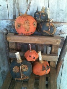 Extreme Prim Fall Grungy Pumpkin Primitive Sitter Ornies Doll Gathering Lot Of 6 #NaivePrimitive