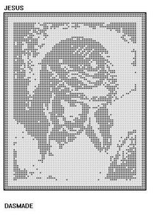 JESUS CHRIST ON CROSS FILET CROCHET DOILY MAT AFGHAN PATTERN EMAIL via Etsy