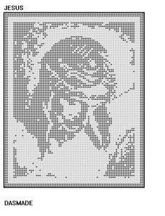 JESUS CHRIST ON CROSS FILET CROCHET DOILY MAT AFGHAN PATTERN EMAIL via Etsy