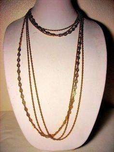 Monet Chain Necklace Gold Tone Triple Strand #Monet #StrandString