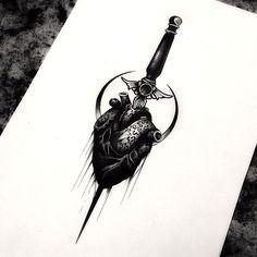 Heart dagger tattoo Blackwork anatomy anatomical