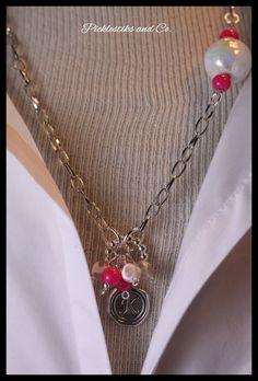 Necklace Monogram Hot Pink Jade Chain Charms by PickleStiksandCo, $34.00